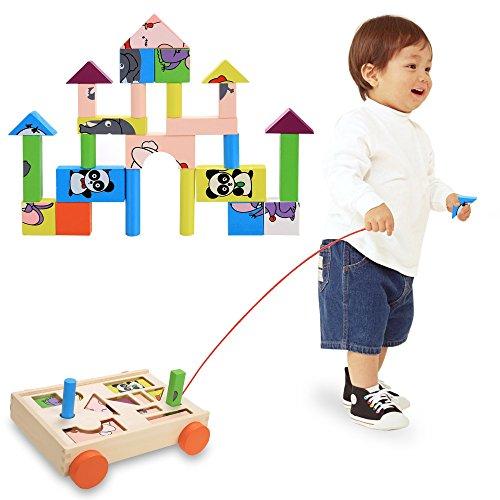 CRAVOG Tier Puzzle und Holz Bausteine Kinder Bauklötze bunt süßes Geschenk Kinderspielzeug