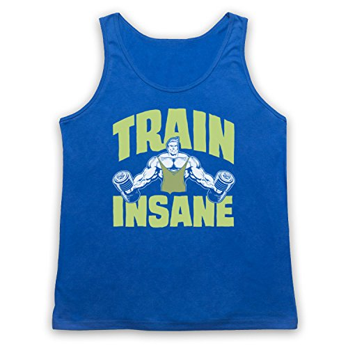 Train Insane Gym Workout Slogan Tank-Top Weste Blau
