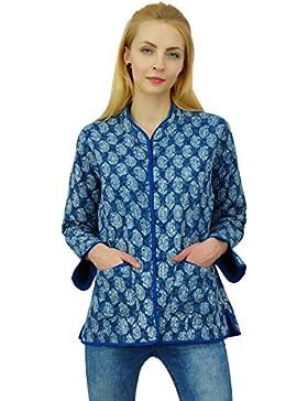 Chaqueta reversible de las mujeres caliente del invierno de mano de Paisley Bloque capa de la chaqueta de impresión...