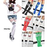 Gleader Calcetines Sobre Rodilla Tobillo para Futbol Beisbol Baloncesto - con Franjas de Color Diferente, 7 color para eleccion!