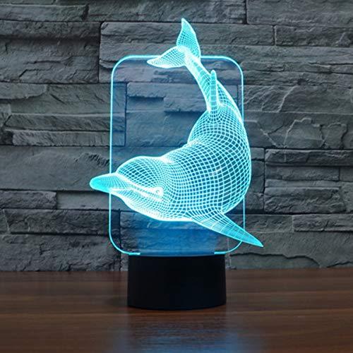 3D Lámpara óptico Illusions Luz Nocturna, EASEHOME LED Lámpara de Mesa Luces de Noche para Niños Decoración Tabla Lámpara de Escritorio 7 Colores Cambio de Botón Táctil y Cable USB, Delfín