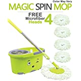 Hugo Mop Bucket Magic Spin Mop Bucket Double Drive Hand Pressure With 4 Microfiber Mop Head Household Floor Cleaning & 4 Color May Vary (With Soap Dispenser)