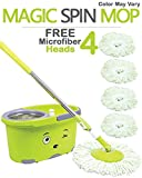#8: Hugo Mop Bucket Magic Spin Mop Bucket Double Drive Hand Pressure With 4 Microfiber Mop Head & 4 Color May Vary (With Soap Dispenser)