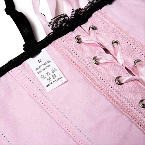 Neuheit Damen Bowknot Korsett Top Klassiker Mieder Corsage Dessous Pink