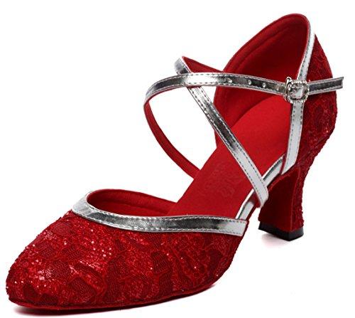 Honeystore Frauen's Satin Spitze Heels Sandalen Latin mit Schnalle Tanzschuhe Rot mit Roter Sohle