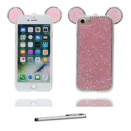Hülle iPhone 7, [ TPU Flexible Bling Diamonds Cute Ohr] iPhone 7 Handyhülle Cover (4.7 zoll), iPhone 7 Case Shell Anti-Beulen - 3D Maus Ohr Cartoon Mouse ear & Touchstift Slivery # 3