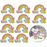 Limeo Cake Topper Arcobaleno Cupcake Topper Cake Topper Sticks Decorazione della Torta Decorazioni per Torta di Compleanno per la Decorazione della Festa Nuziale di Compleanno, 10 Pezzi, 5 * 3,5 cm