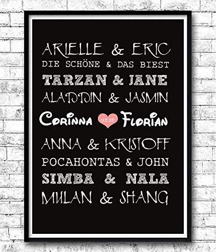 TinyTami  Kunstdruck Hochzeitsgeschenk  Disney Paare  Fantasy  A4 oder A3  Fineart Print  Poster...