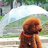 Útil transparente PE para mascotas perros pequeños paraguas paraguas de la lluvia de engranajes con Correas Mantiene secos para mascotas cómodo en lluvia nieva PTSP
