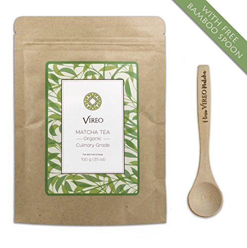 Matcha Grünteepulver Grüner Matcha Tee | Kulinarischer Grad 100g, inkl. Gratis-Bambuslöffel - für mehr Energie & Fokus - voller wertvoller Antioxidantien | Premium Matcha-Pulver für Lattes, Smoothies & zum Kochen | von Vireo