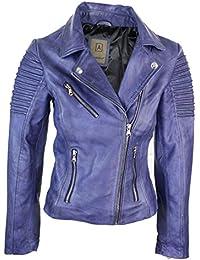 Veste Perfecto Femme Cuir véritable Bleu Violet Style Biker Coupe cintrée 751fe946bfad