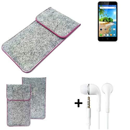 K-S-Trade® Filz Schutz Hülle Für -Doogee Y6C- Schutzhülle Filztasche Pouch Tasche Case Sleeve Handyhülle Filzhülle Hellgrau Pinker Rand + Kopfhörer