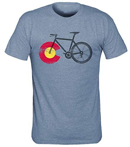 Mountain Short Sleeve Tee (T.I.T.S. Herren Men's Local Colorado Mountain Bike Short Sleeve T-Shirt, Heather Indigo, Klein)
