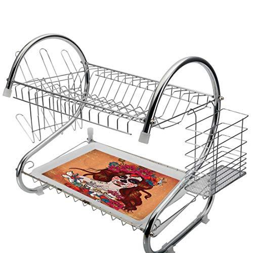 Edelstahl-Abtropfbrett, Tag der Toten 2-stufiger Küchen-Abtropfbrett-Besteckhalter, Auffangschalen-Aufdruck Dia de Los Muertos, spanisch-mexikanisch, festliche Schädelkunst, malvenweiß, Aufbewahrungsr (De Los Muertos-kuchen Dia)