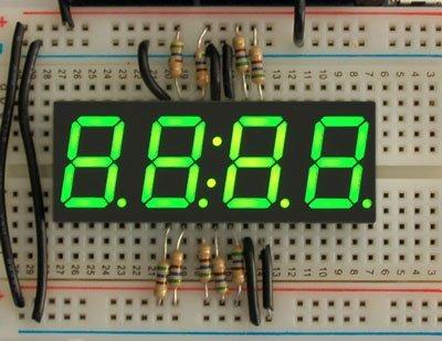 Green 7-segment clock display - 0.56 digit height