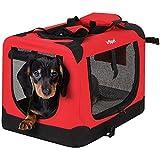 Leopet Faltbare Hundetransportbox Inklusive Polster Transportbox für Haustiere Hundebox Autobox für Hunde, Katzen und Kleintiere Farbe Rot, Größe S