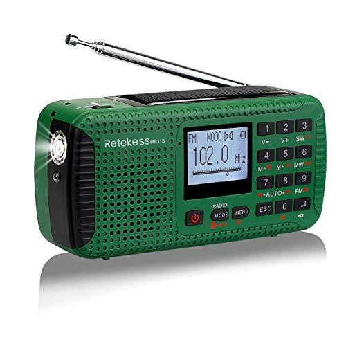 Retekess HR11S AM/UKW/KW Tragbares Radio Camping Solar Kurbel Notfall Radio Weltempfaenger mit Wecker Wireless MP3 Player Taschenlampe Recorder Alarm Funktion und rote SOS Licht (Grün)