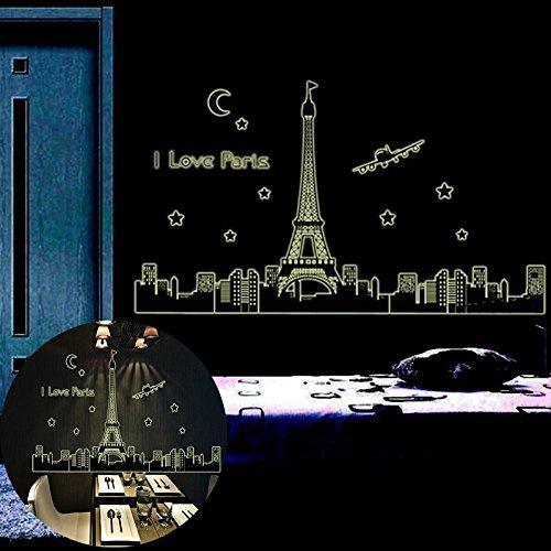 aloiness Wandtattoo Leuchtender Paris Tower Aufkleber Wand-Aufkleber PVC Wandsticker für Wohnzimmer Schlafzimmer - Paris-wand-aufkleber