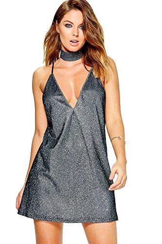 Schwarz Damen Boutique Ashton Metallic Choker Slip Dress Schwarz