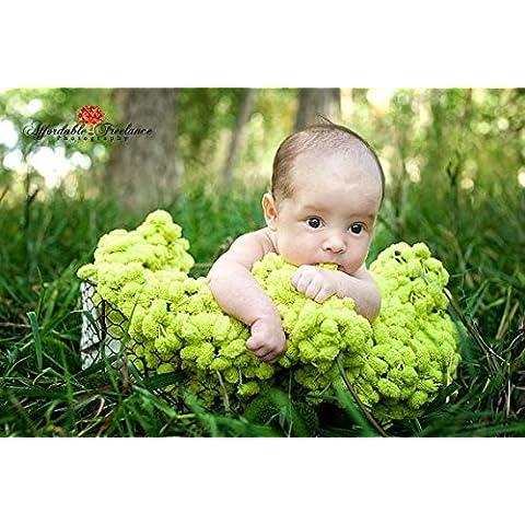 Bebé recién nacido fotografía Prop hecho a mano manta de lana para tejer color blanco bolas