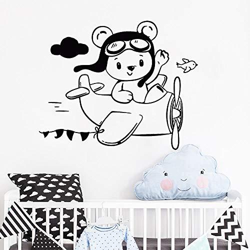 guijiumai Schöne Kleine Teddybär Aviator Wandaufkleber Flugzeug Kinderzimmer Aufkleber Tapete Baby Kindergarten Vinyl Aufkleber Mädchen Jungen weiß 70x57 cm