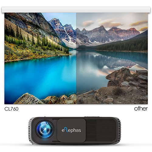 Bargain ELEPHAS 1080P HD LED Movie Projector with 3300 Luminous Efficiency LCD Video Projector Support HDMI USB VGA Amazon Fire TV Laptop Smartphone Ideal for Office Home Cinema Entertainment Games Party on Line