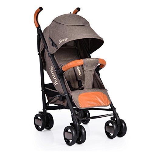 Kinderwagen, Buggy Sunny, zusammenklappbar, Leder, mehrfach verstellbar (Braun)