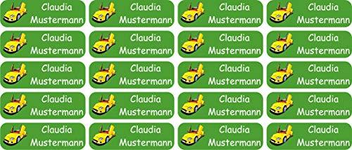 INDIGOS UG® Namensaufkleber Sticker - 50x16 mm - personalisiert - 008 - hot rod Auto - 60 Stück für Kinder, Schule und Kindergarten - Stifte, Federmappe, Lineale - individueller Aufdruck -