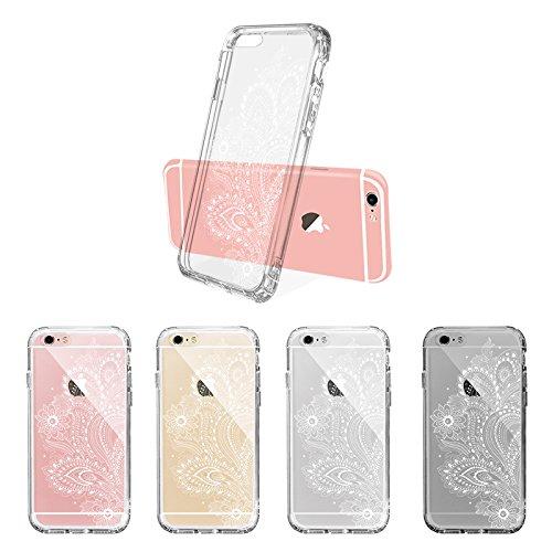 iPhone 6s Hülle, iPhone 6s Case, MOSNOVO Henna Mandala Blumen Weiß Muster Transparent TPU Bumper mit Hart Plastik Durchsichtige Schutzhülle für Apple iPhone 6 6s (4,7 Zoll) (Mandala Henna Tattoo) Paisley Floral