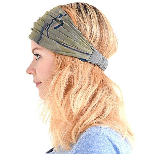 Casualbox Damen Stirnband Headband Bandana Band Hand gefärbt Japanisch Haar Marmor Dunkelblau
