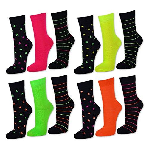 Damen NEON Socken Baumwolle Bunte Ringel Sterne Uni ohne Gummidruck Pink Grün Orange Gelb Schwarz - 36579 (39-42, 3 Paar Pink/Schwarz)