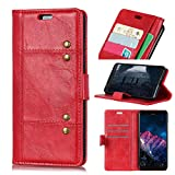 LMFULM® Hülle für Motorola Moto E5 / G6 Play (5,0 Zoll) PU Leder Magnetverschluss Brieftasche Lederhülle Korea Style Stent-Funktion Schutzhülle Flip Cover für Moto E5 / G6 Play Rot