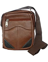 Bagaholics Leather Sling Bag Side Bag Cross-body Bag Mobile Pouch Women Girls Wallet Ladies Purse (Brown)