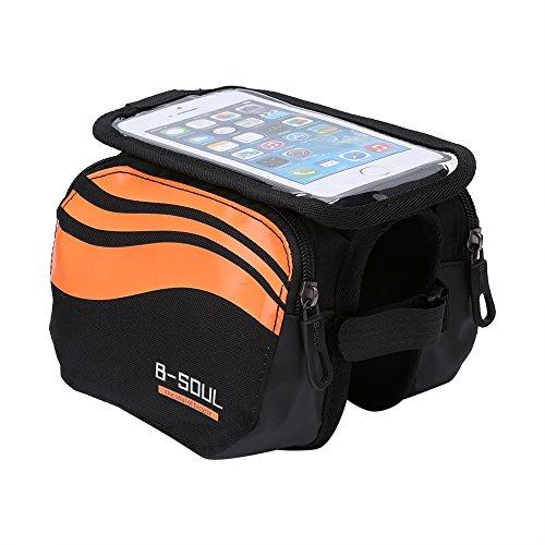 Alomejor Wasserdicht Tube Fahrrad Tasche, Rahmen Gepäckträger Bike Front Head Top Handy Zubehör, Orange -