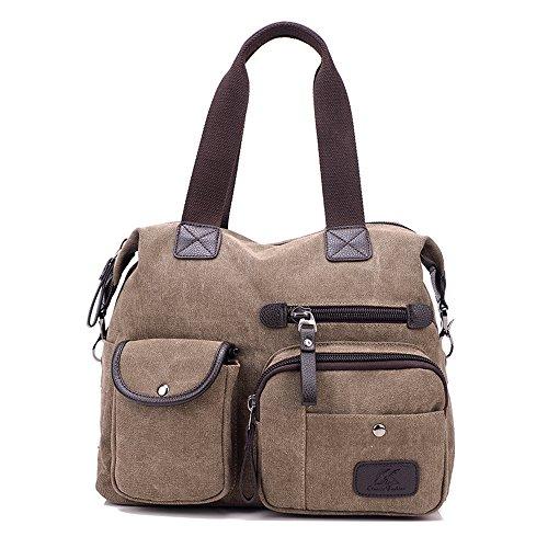 Damen Handtasche, Gindoly Multi Pocket Large Schultertasche Tote Fashion Handtasche Canvas Hobo Bags für Reisen Schule Shopping und Arbeit (Braun) (Handtasche Weiche Hobo Große)