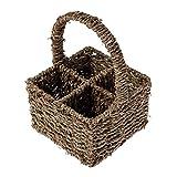 Homescapes Besteckkorb aus Seegras mit Henkel, vier Fächer, Handgeflochten, Natur
