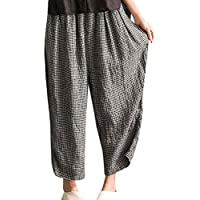 Mxssi Pantalones De Mujer Pantalón Ancho De Pierna Holgada para Pantalones Largos Pantalones Casuales Pantalones De Verano Boho Hippie Pantalones A Cuadros Lounge Wear Pantalones De Bottoms