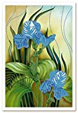 Stickbild mit Perlen komplette Stickpackung Iris Blumen 23x35 Stickset Stickerei Set Handarbeit Stickvorlage vorgedruckt vorgezeichnet Bild zum selber sticken