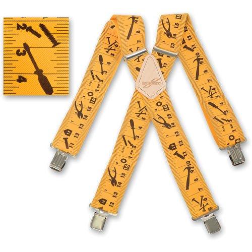 Brimark Herren-Hosenträger in Maßband-Design, strapazierfähig, Gelb, 5 cm (Maßband Hosenträger)