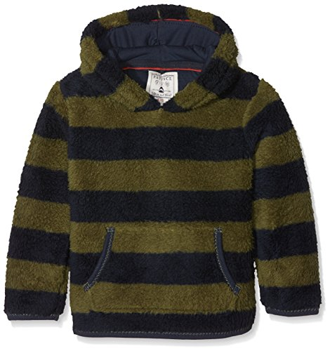 Fat Face Jungen Sweatshirt Hooded Stripe Fleece, Green (Khaki Grn), 4-5 Jahre (Stripe Pullover Hooded)