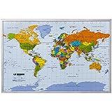Tableau en liège carte du monde XXL avec 12 aiguilles de marquage 90 x 60 cm français