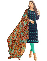 Women'S Blue Semi Stitched Embroidered Jacquard Dress Material