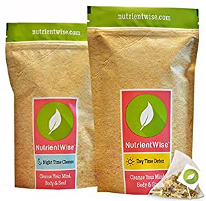 NUTRIENT WISE -Thé Détox Vert Organique -The minceur- Détoxification de l'organisme Reducteur d Appetit - Detox Tea