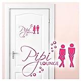 Grandora Wandtattoo Sprüche Pipi Lounge Mann Frau I pink 17 x 11 cm I WC Türaufkleber Piktogramm Bad Badezimmer Wandaufkleber Wandsticker W755