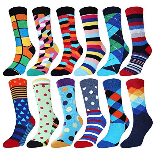 Jielucix Bunte Socken Damen Lustige Baumwolle Farbige Anzugsocken für Frauen 39-42 (Bunt A, 12) -