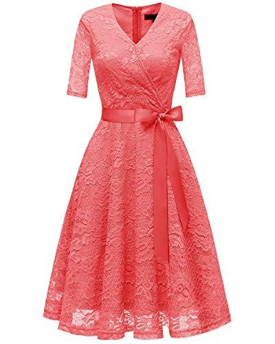 ccd9f4e6cfd Bridesmay Damen Retro Spitzenkleid Knielang Brautjunfern Kleid Festlich  Abiball Cocktailkleid Coral.