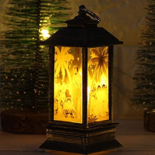 Lucaswang candela con luce led, finta fiamma , cervo ownman babbo natale gesù stampato tea light per natale casa decorazione jesus