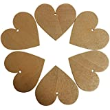 KurtzyTM 25 Étiquettes Plaques Décoratives en Forme de Cœurs en Bois de 85mm Couleur Marron Café
