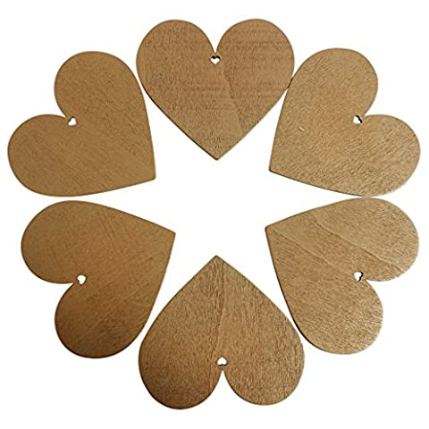 25 Coffee Brown Wooden Heart Shape Craft Tags Plaques Decorative 85mm by Kurtzy TM