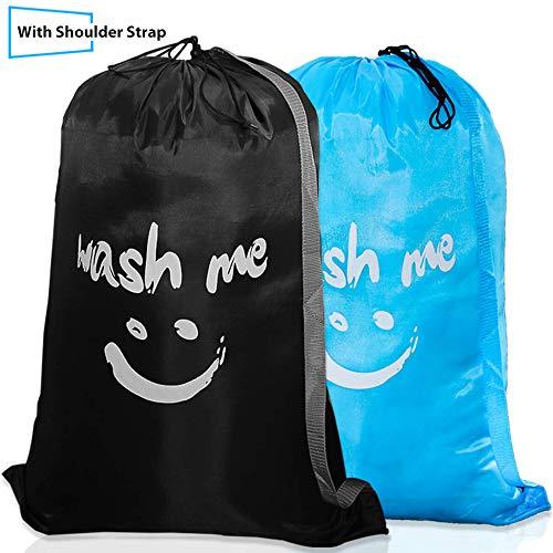 Era Natural 2 Bolsas de lavandería de Viaje Grandes con Correa para el Hombro, Lavables a máquina, Material de Nailon Resistente con Cierre de cordón para niños, Colegio de Campamento (Negro y Azul)